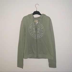 Hollister Green Zip-Up Hoodie with Circle Logo